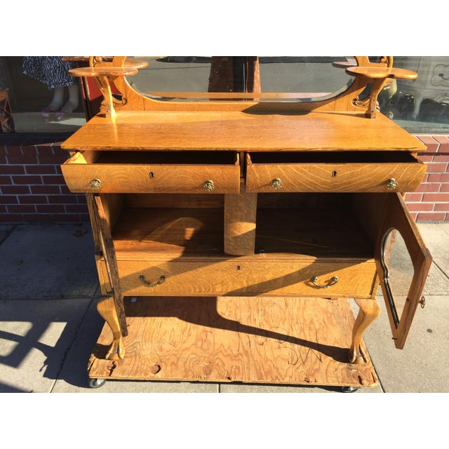 Victorian Oak Sideboard Server With Carved Griffins - Image 7 of 9