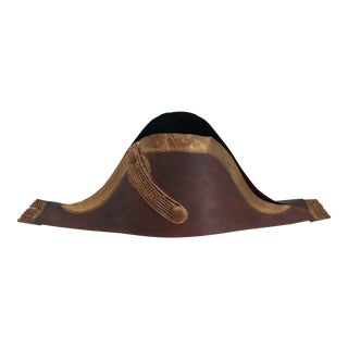 Trade Sign French Bicorne Military Millinery Tole Hat Antique For Sale