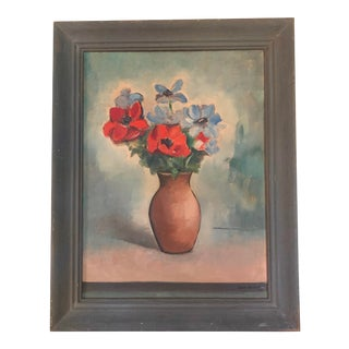 Vintage Poppies Floral Still Life Painting, Signed 1944 For Sale