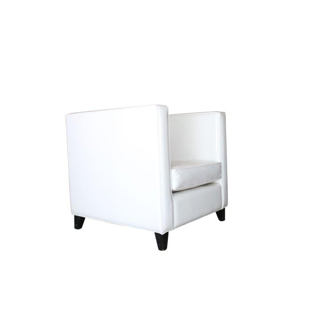 Modern White Club Chairs - A Pair - Image 3 of 4