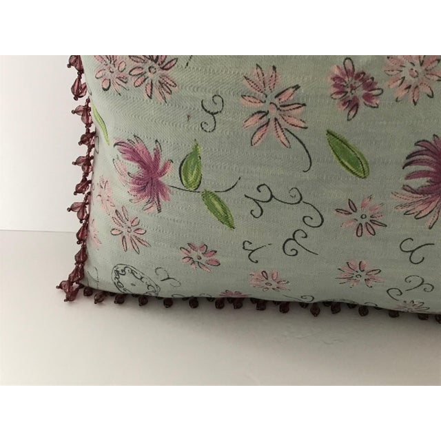 "2010s Osborne & Little Newly Custom Made Light Mint Green Fabric Pillow 18.5"" X 12.5"" For Sale - Image 5 of 11"
