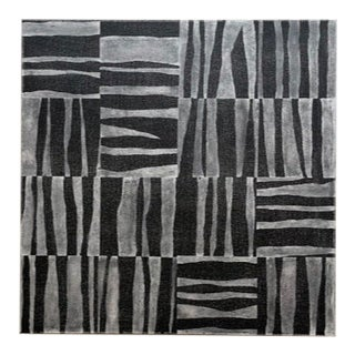 Contemporary Modernist Inspired Abstract Faded Black Acrylic Painting For Sale
