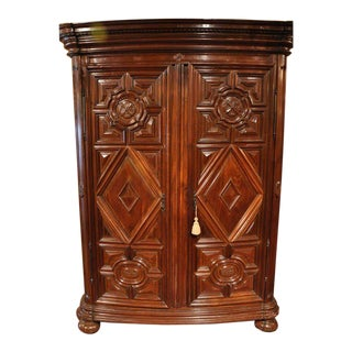 18th Century French Carved Walnut Bow-Front Perigord Armoire