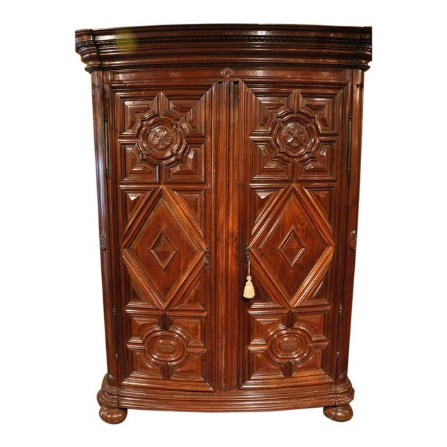 18th Century French Carved Walnut Bow-Front Perigord Armoire - Image 1 of 8