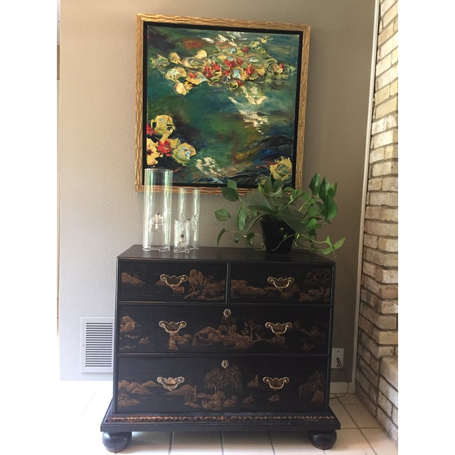 Late 19th Century Vintage Baker Chinoiserie Gold and Black Lacquer Chest of Drawers For Sale - Image 5 of 12