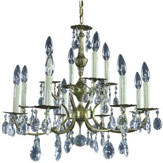 Chandelier Vintage French 1950 Rococo 12-Light For Sale