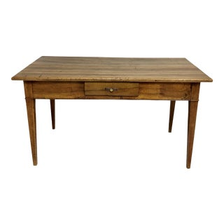 19th Century French Walnut Farm Table With Small Drawer For Sale