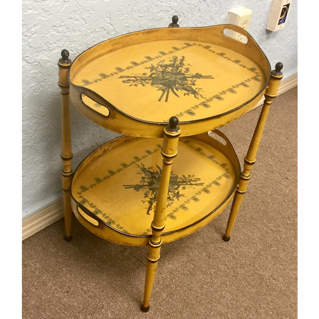 Iron 20th Century Italian Yellow Tole Tray Table For Sale - Image 7 of 12
