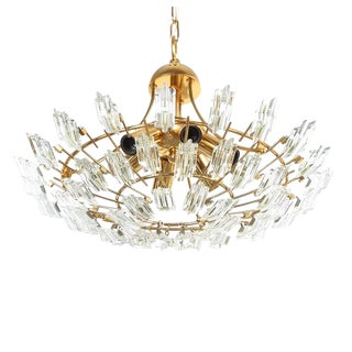Italian Stilkrone Crystal Glass and Gilded Brass Flush Mount For Sale