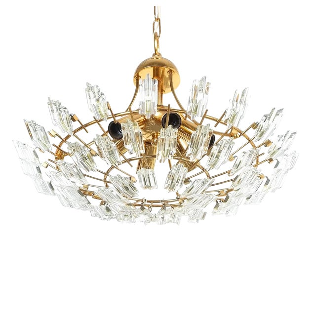 Italian Stilkrone Crystal Glass and Gilded Brass Flush Mount For Sale