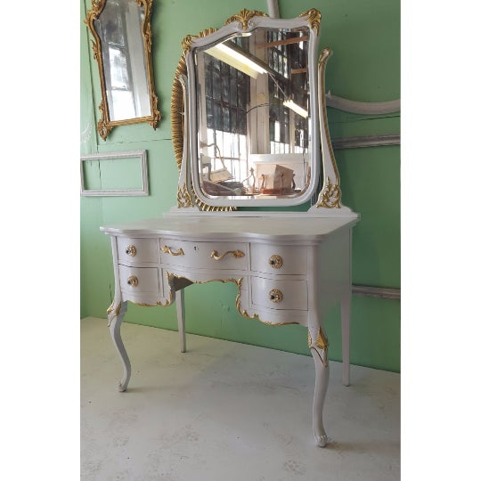 Antique White Makeup Vanity With Mirror & Chair - Image 4 of 5