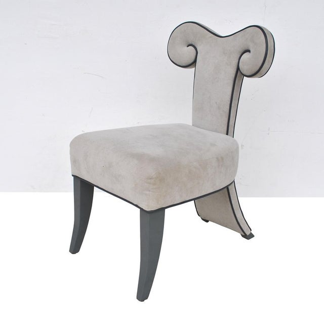 Black Pair of Rams Head Dining Side Chairs by Brueton For Sale - Image 8 of 11