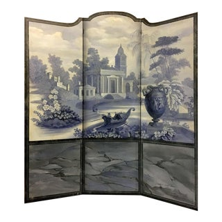 Vintage European 3-Panel Top Shaped Blue & White Screen For Sale