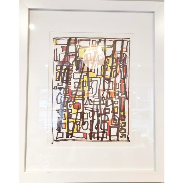 Vintage-Abstract Marker Drawing -'Tenement' *Comes in White Frame with White Matte