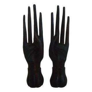 Solid Teak Oriental Ring Fingers - Pair