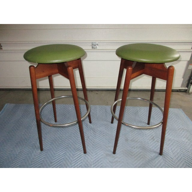 Danish Modern Floating Top Bar Stools - A Pair - Image 8 of 10