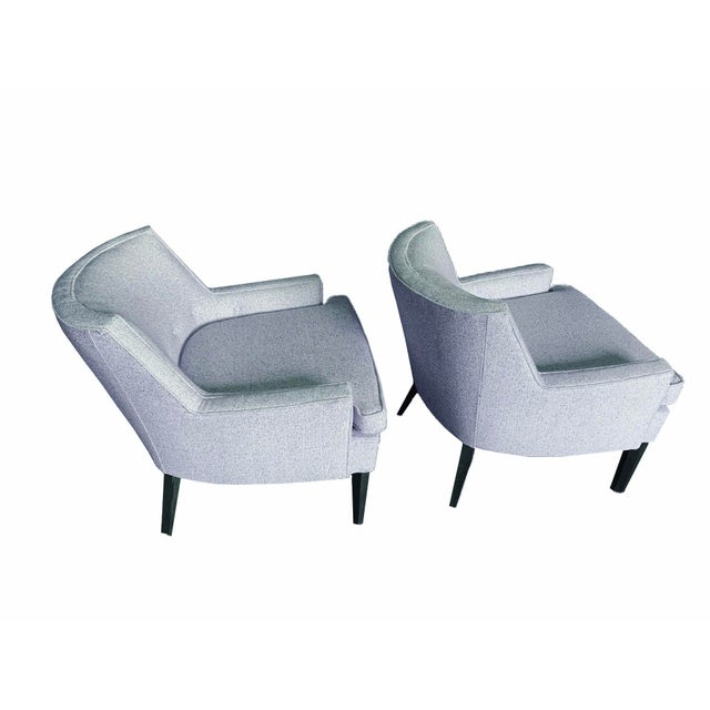 Thomas O'Brien for Century Furniture Blue Tweed Accent Chairs - a Pair For Sale - Image 6 of 6
