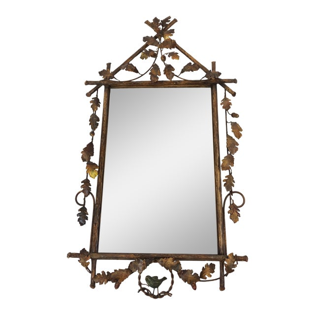 Gilt Metal Faux Bois Mirror With Leaves and Bird For Sale