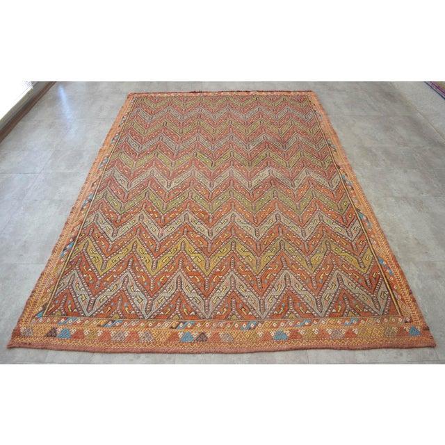 "Antique Turkish Kilim Rug Hand Woven Wool Jajim Braided Area Rug - 5'6"" X 8'3"" For Sale - Image 10 of 10"