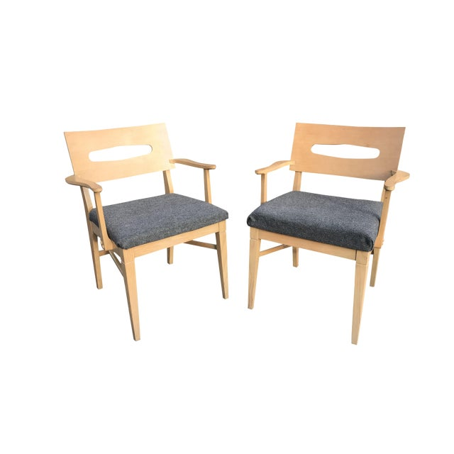 1960s Mid-Century Modern Gray Felt Upholstered Occasional Chairs - a Pair For Sale