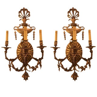 Bronze 3-Light Sconces in an Urn Form - A Pair For Sale