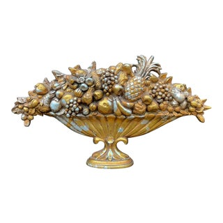 Large Syroco Fruit Bowl Wall Hanging For Sale