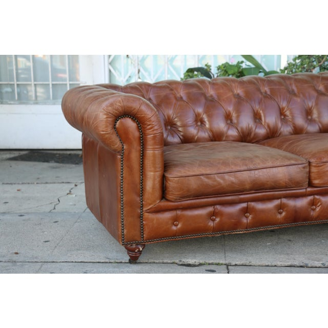 Modern Distressed Leather Tufted Chesterfield Sofa For Sale In Los Angeles - Image 6 of 13