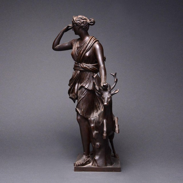 French Bronze Sculpture of the Versaille Diana For Sale - Image 3 of 7