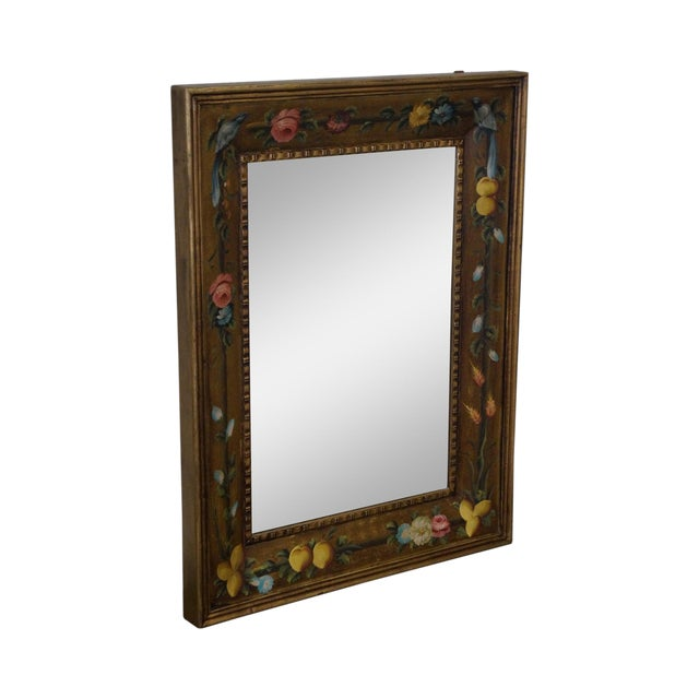 Floral Hand Painted Gilt Frame Beveled Wall Mirror For Sale