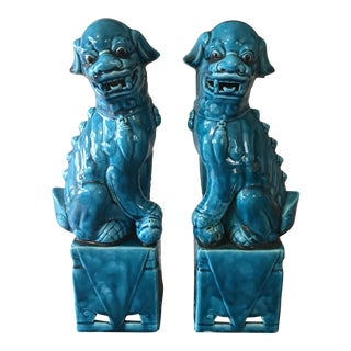 1960s Chinese Turquoise Blue Porcelain Male & Female Foo Dog Figurines - a Pair For Sale