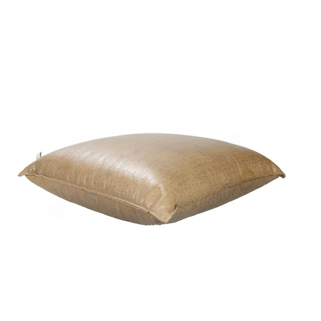 Large fawn color crocodile leather sitting pillow for floor lounging. By Armani Casa. Makers Mark attached to Pillow.