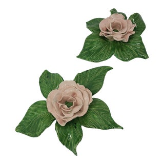 Vintage Rose Candle Holders Handmade Pottery Spectacular a Set For Sale