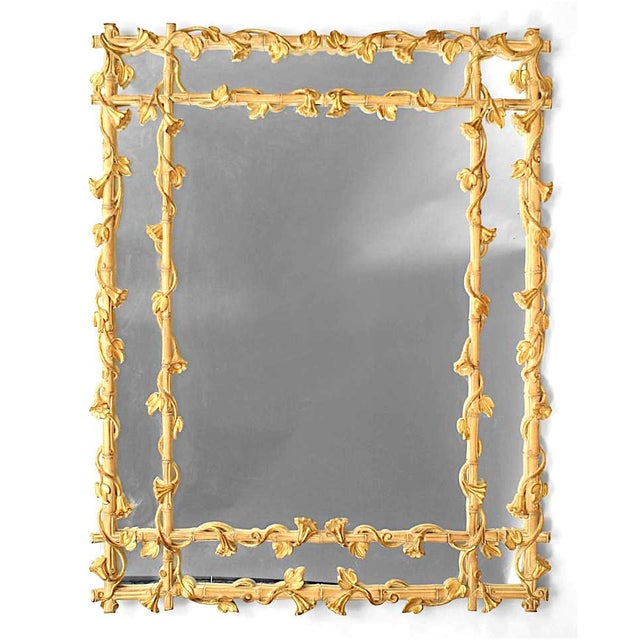 Traditional Stripped Faux Bamboo Wall Mirror For Sale - Image 3 of 4