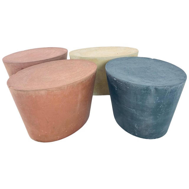 Original Maya Lin for Knoll Studio Concrete Stone Garden or Gallery Stools - Set of 4 Various Colors For Sale