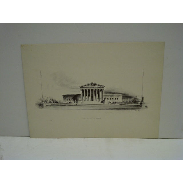 """This is a Vintage Drawing -- Titled """"The Supreme Court"""" -- By Ernest T. Daly -- Circa 1970"""