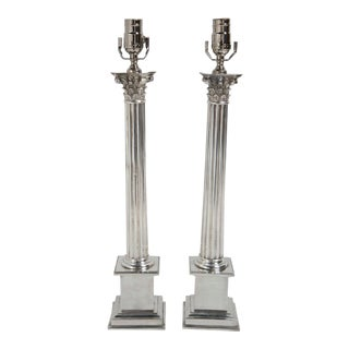 Caldwell Silver Plated Table Lamps - a Pair For Sale