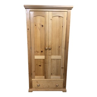 Crate & Barrel Slim Pine Armoire For Sale