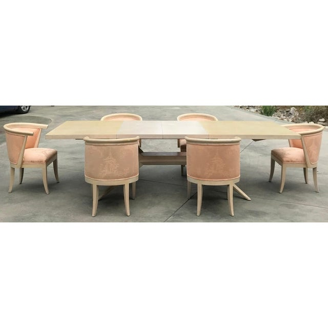 1950s Harold Schwartz for Romweber Mid-Century Modern Limed Oak and Silk Barrel Chairs - Set of 6 For Sale - Image 5 of 10