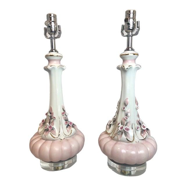 1950s Vintage Pink Floral Italian Porcelain Table Lamps - a Pair For Sale