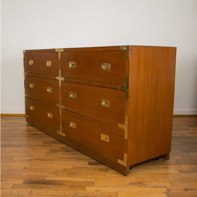Mid Century Low Boy Campaign Dresser with Detachable Mirror - Image 3 of 11