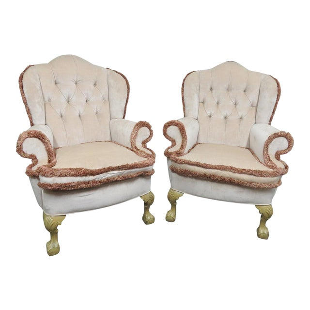 Chippendale Style Tufted Wing Chairs- a Pair For Sale