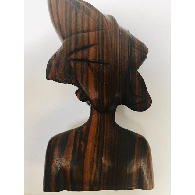 Mid 20th Century Balinese Hand Carved Wooden Busts Bookends - a Pair For Sale - Image 5 of 11