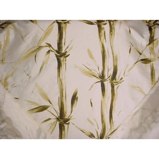 Kravet Couture Selva Handprinted Bamboo Leaf Silk Upholstery Fabric- 12 1/2 Yards For Sale