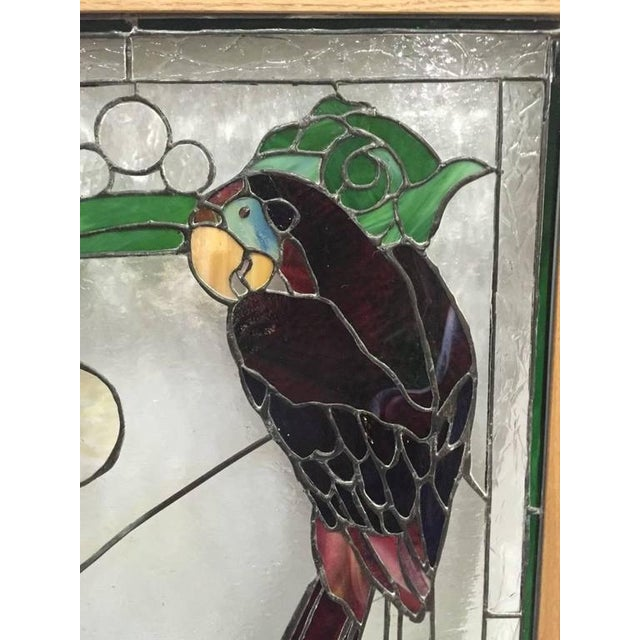 1970s Stained Glass of Two Parrots in Wood Frame For Sale - Image 5 of 10