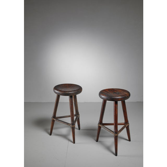 Pair of High Scandinavian Wooden Tripod Stools with Iron Connections, 1930s - Image 2 of 4