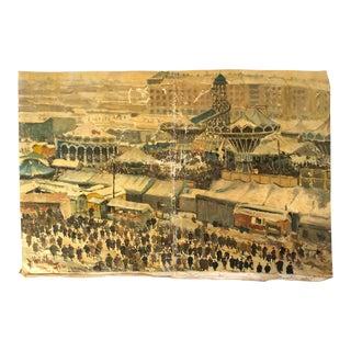 1932 Prague Masopust Carnival, Karel Votlučka Oil Painting For Sale