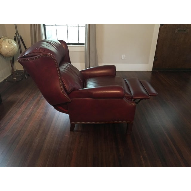 Hancock & Moore Addison Bustle Back Ball & Claw Recliner in Red Leather - Image 10 of 11