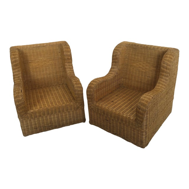 1970s Boho Chic Rattan Club Chairs - a Pair For Sale