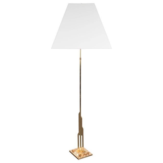 Mid-Century Modernist Floor Lamp in Polished Brass with Custom Lucite Shade For Sale - Image 9 of 9