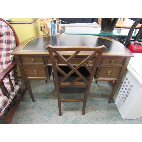 Sligh Leather Top Ladies Writing Desk & Chair For Sale - Image 11 of 11
